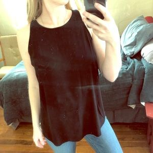 Flouncy Black Tank Blouse